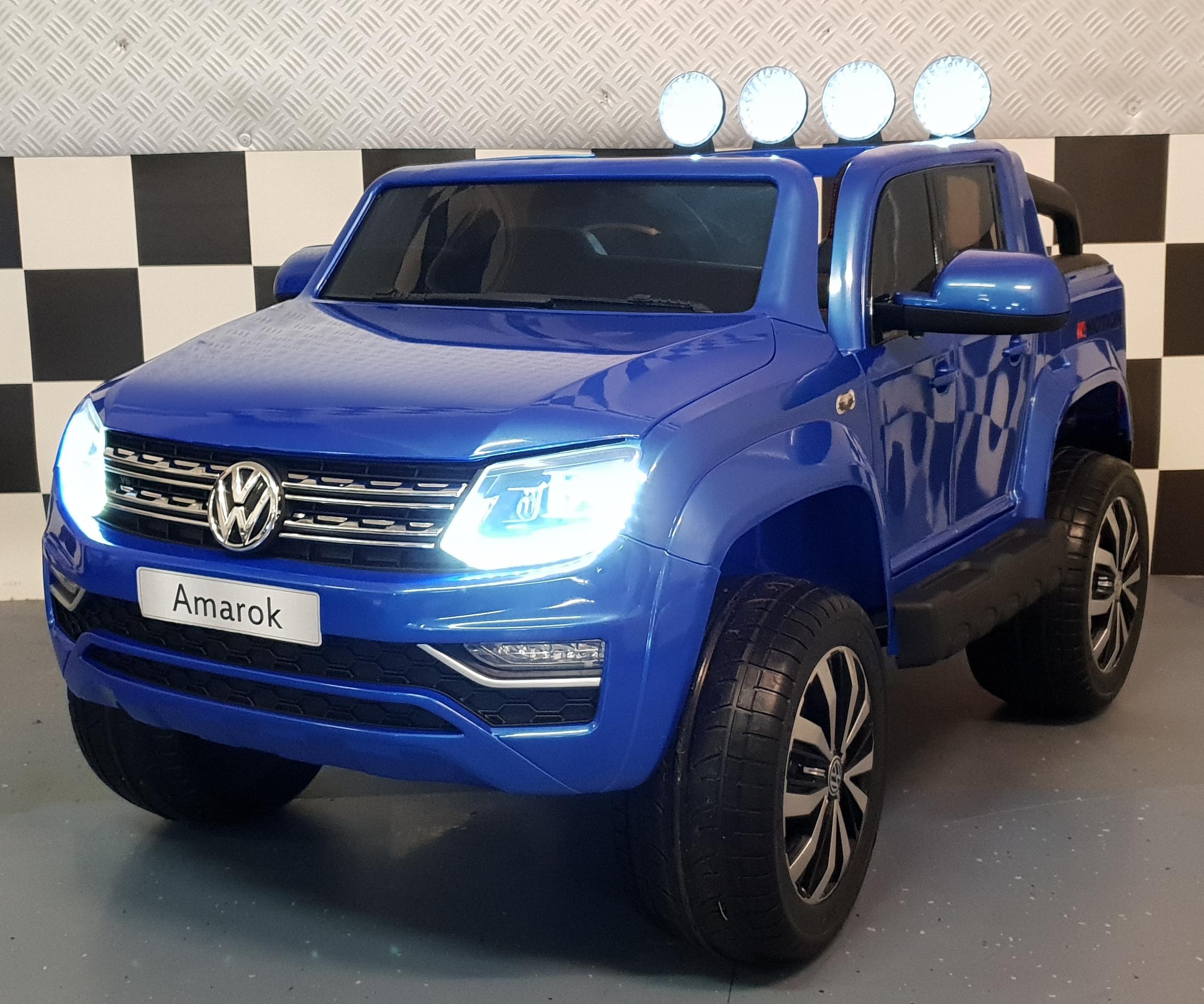VW Amarok kinderauto 2x12V 2.4G RC 4WD metallic blauw