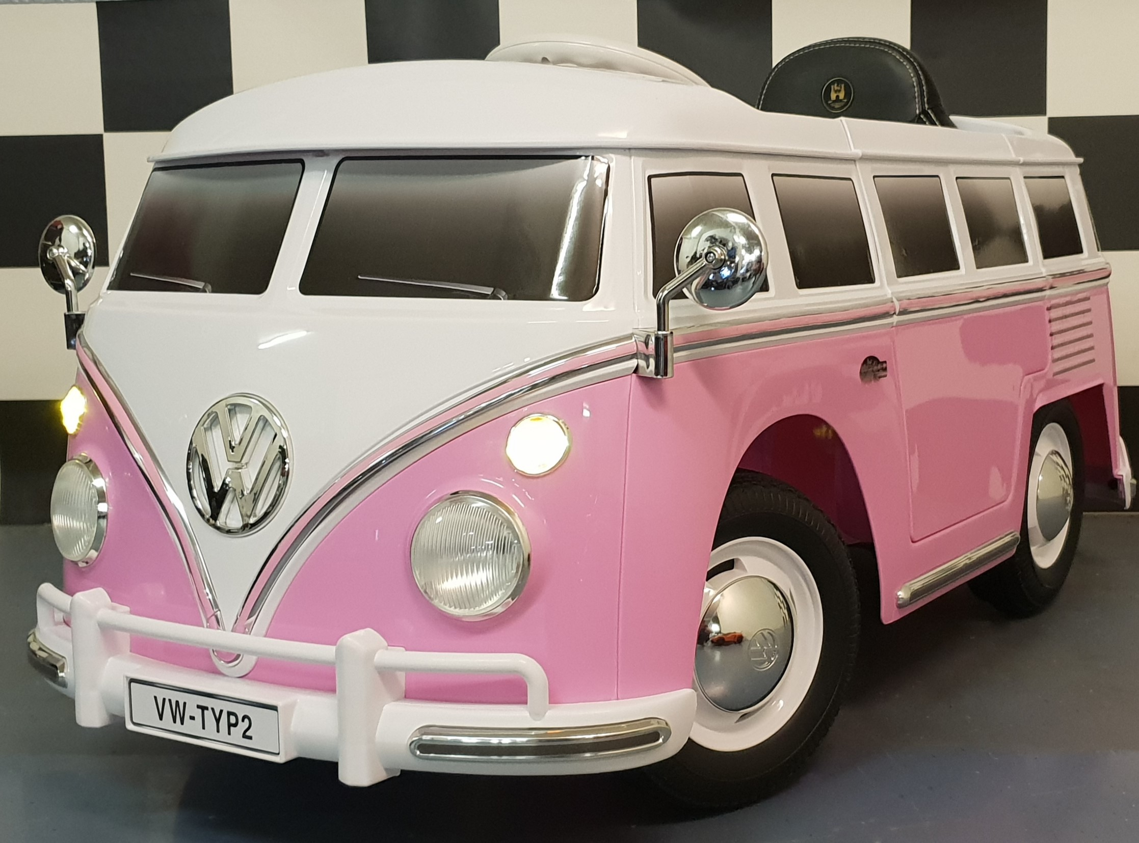 Volkswagen kinderauto T1 kinderbus 12V 2.4G RC roze
